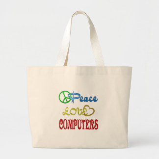 PEACE LOVE COMPUTERS LARGE TOTE BAG