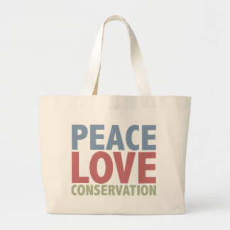 Peace Love Conservation Large Tote Bag
