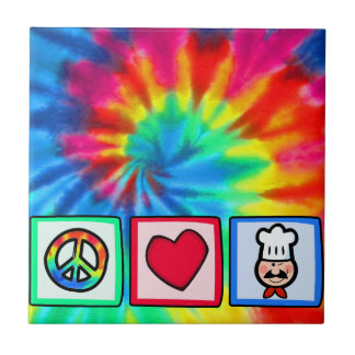 Peace, Love, Cooking Small Square Tile