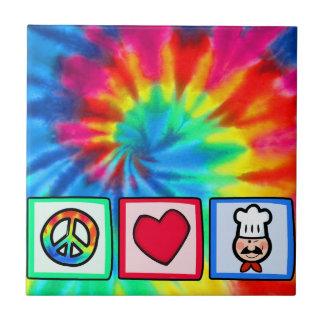 Peace, Love, Cooking Ceramic Tile