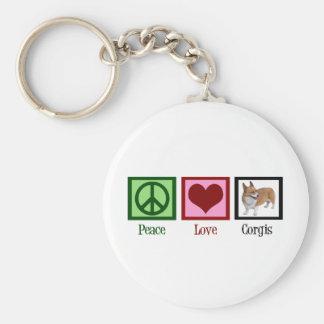 Peace Love Corgi Photograph Key Ring