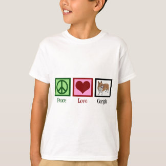 Peace Love Corgi Photograph T-Shirt