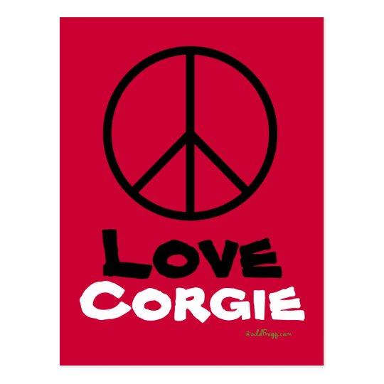 Peace Love Corgie Postcard