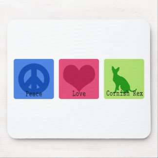 Peace Love Cornish Rex Mouse Pad