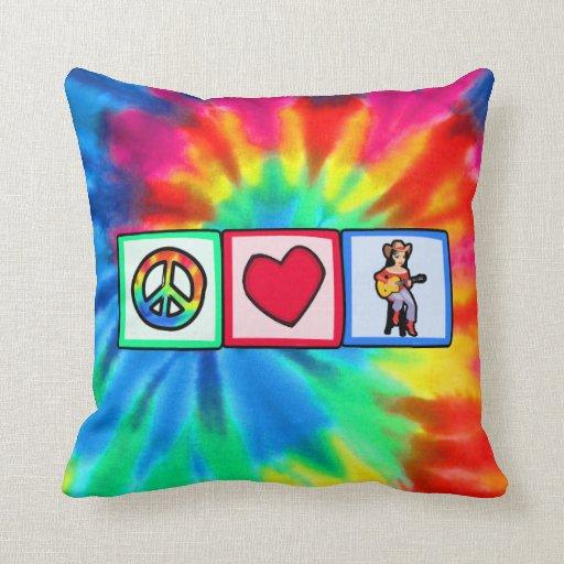 Peace, Love, Country Music Throw Cushion
