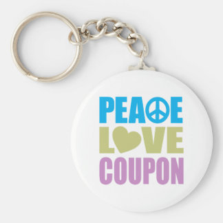 Peace Love Coupon Basic Round Button Key Ring