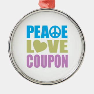 Peace Love Coupon Silver-Colored Round Decoration