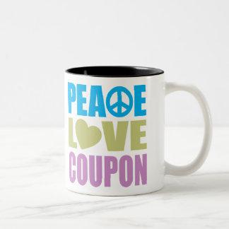 Peace Love Coupon Two-Tone Mug