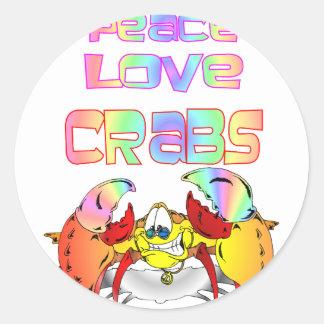 PEACE LOVE CRABS ROUND STICKER