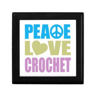 Peace Love Crochet Small Square Gift Box