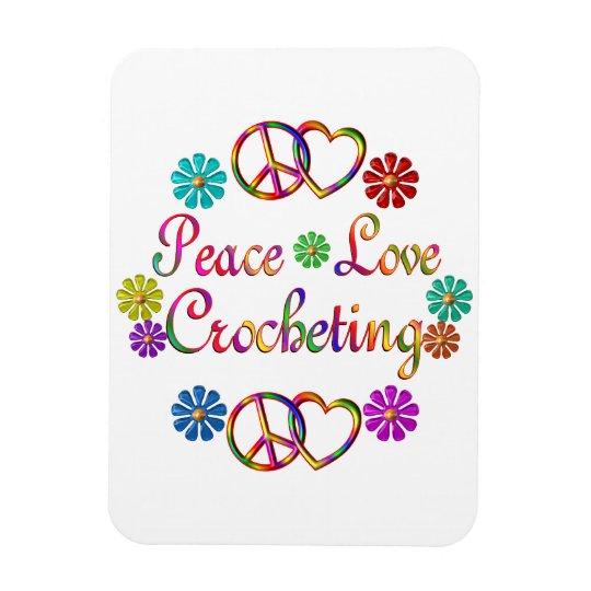 PEACE LOVE CROCHETING RECTANGULAR PHOTO MAGNET