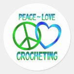 Peace Love CROCHETING Round Sticker