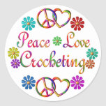 PEACE LOVE CROCHETING ROUND STICKERS