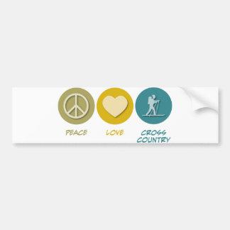 Peace Love Cross Country Skiing Bumper Sticker