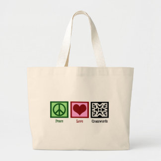 Peace Love Crosswords Large Tote Bag