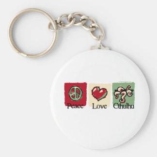 Peace. Love. Cthulhu. Basic Round Button Key Ring
