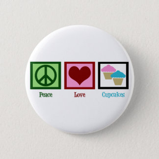 Peace Love Cupcakes 6 Cm Round Badge