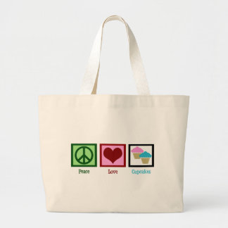 Peace Love Cupcakes Large Tote Bag