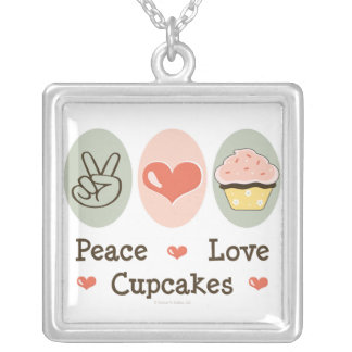 Peace Love Cupcakes Necklace