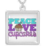 Peace, Love & Cupcakes! Necklace, purple