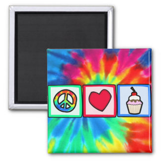 Peace, Love, Cupcakes Square Magnet