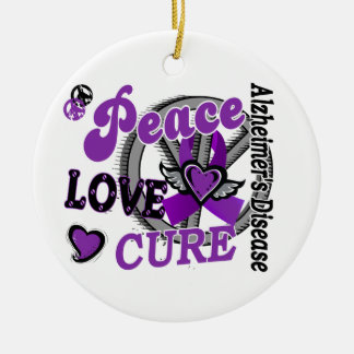 Peace Love Cure 2 Alzheimer's Disease Christmas Ornament