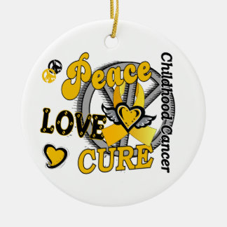 Peace Love Cure 2 Childhood Cancer Round Ceramic Decoration