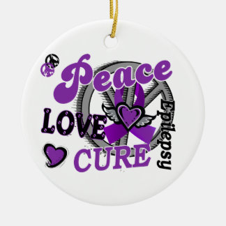 Peace Love Cure 2 Epilepsy Christmas Ornament