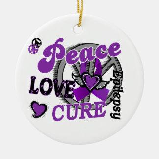 Peace Love Cure 2 Epilepsy Round Ceramic Decoration