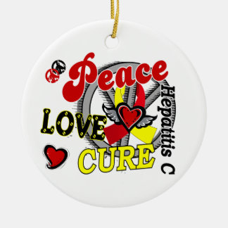 Peace Love Cure 2 Hepatitis C Christmas Ornament