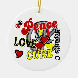 Peace Love Cure 2 Hepatitis C Round Ceramic Decoration