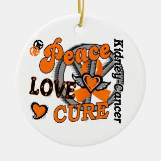 Peace Love Cure 2 Kidney Cancer Round Ceramic Decoration