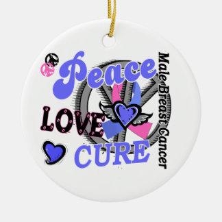 Peace Love Cure 2 Male Breast Cancer Round Ceramic Decoration