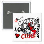Peace Love Cure 2 Oral Cancer Buttons