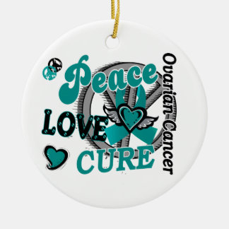 Peace Love Cure 2 Ovarian Cancer Christmas Ornament