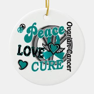 Peace Love Cure 2 Ovarian Cancer Round Ceramic Decoration