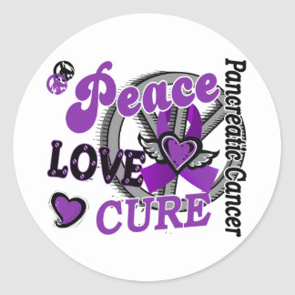Peace Love Cure 2 Pancreatic Cancer Round Sticker
