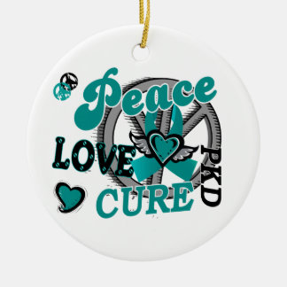 Peace Love Cure 2 PKD Polycystic Kidney Disease Round Ceramic Decoration