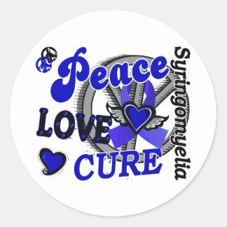 Peace Love Cure 2 Syringomyelia Round Sticker