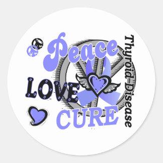 Peace Love Cure 2 Thyroid Disease Round Sticker