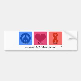 Peace Love Cure AIDS Bumper Sticker