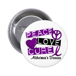 PEACE LOVE CURE ALZHEIMER'S DISEASE 6 CM ROUND BADGE