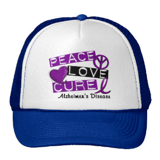 PEACE LOVE CURE ALZHEIMER'S DISEASE CAP
