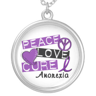 Peace Love Cure Anorexia Silver Plated Necklace