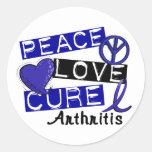 Peace Love Cure Arthritis Round Sticker