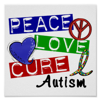 Peace Love Cure Autism Poster