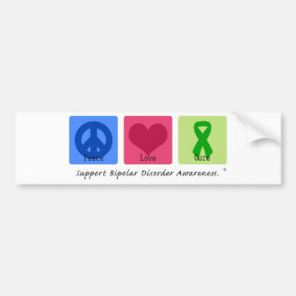 Peace Love Cure Bipolar Disorder Bumper Sticker