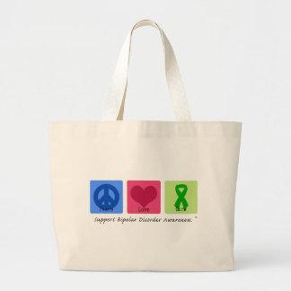 Peace Love Cure Bipolar Disorder Jumbo Tote Bag
