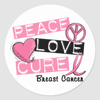 PEACE LOVE CURE BREAST CANCER ROUND STICKER