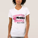 PEACE LOVE CURE BREAST CANCER T-SHIRTS